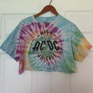 AC/DC tie dye cropped t-shirt